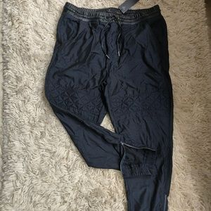 Guess - Blue w/ Black Leather Joggers -fit a large